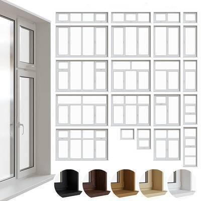 实木, 窗户, 现代, 窗