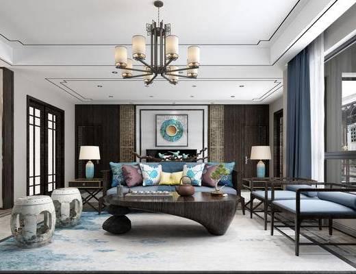 客厅, 沙发茶几组合, 桌椅组合, 吊灯, 新中式