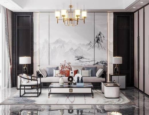 新中式, 客厅, 家装, 沙发, 吊灯