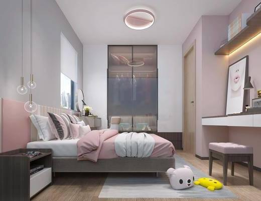 现代, 女儿房, 卧室, 床具组合