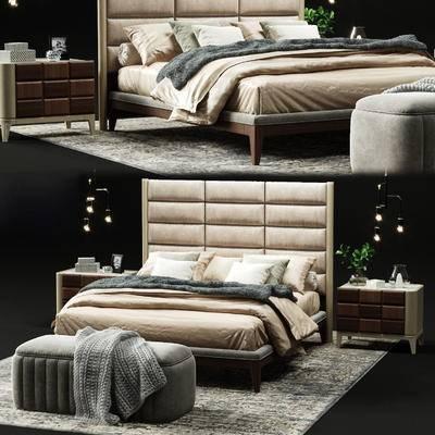 双人床, 床头柜, 床尾凳, 脚踏, 地毯, 吊灯, 盆栽, 摆件, 现代, 床具组合, 床