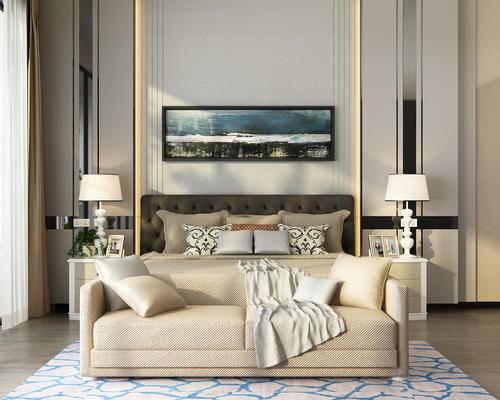 现代卧室, 卧室, 床, 装饰画, 沙发, 台灯, 床头柜