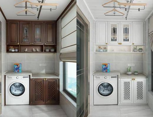 洗衣机柜, 衣架, 橱柜, 现代