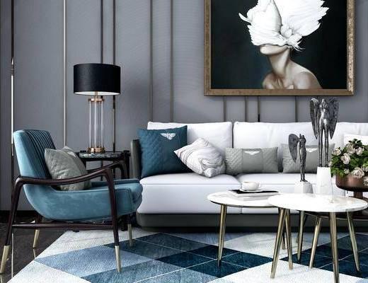 沙发组合, 多人沙发, 单人沙发, 休闲椅, 茶几, 边几, 摆件, 装饰品, 挂画, 装饰画, 台灯, 花瓶, 花卉, 现代