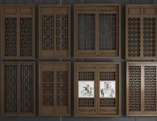 實木花格, 平開窗, 雕花窗戶, 新中式