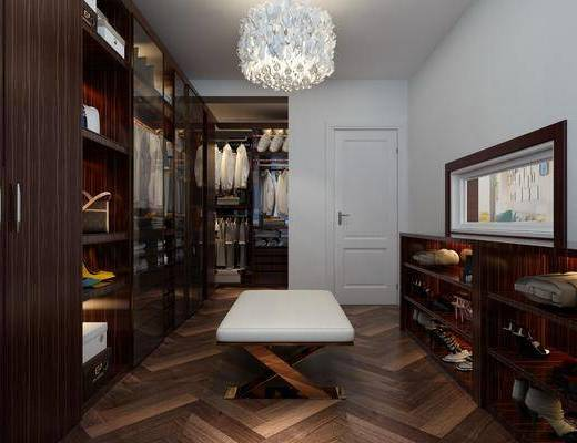 衣帽间, 衣柜, 鞋柜, 服饰, 茶几, 装饰柜, 鞋子, 吊灯, 凳子, 现代