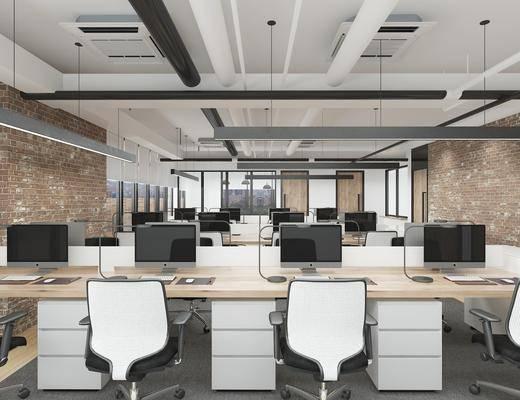 办公室, 桌椅组合, 电脑桌, 吊灯