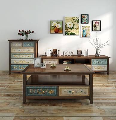 美式, 边柜, 装饰柜, 置物柜, 茶几, 摆件, 陈设品, 盆栽