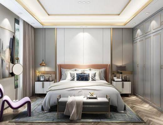 现代卧室, 卧室, 双人床
