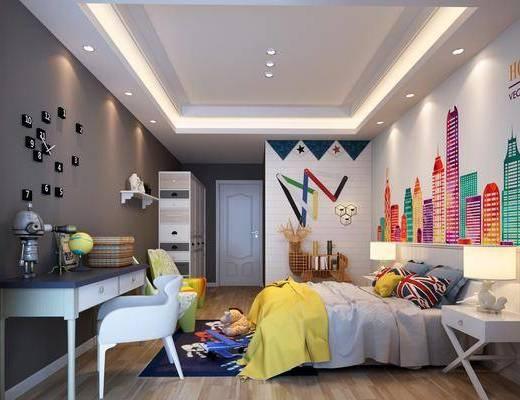 卧室, 双人床, 床头柜, 台灯, 书桌, 单人椅, 墙饰, 玩具, 摆件, 装饰品, 陈设品, 现代