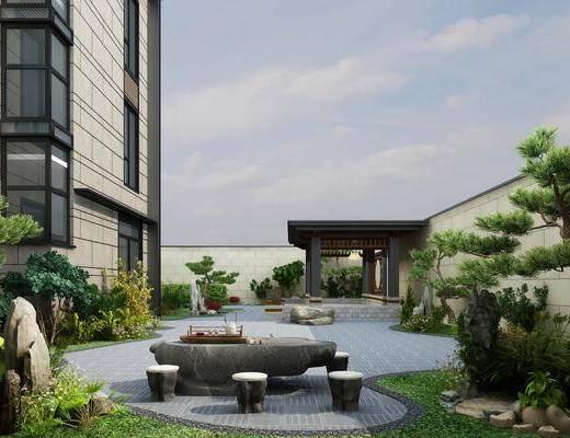 庭院花园, 花园庭院, 别墅庭院, 桌椅组合, 树木, 绿植植物, 门面门头, 现代