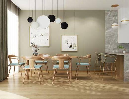 餐桌, 椅子, 北欧, 单椅, 到的, 挂画, 装饰画, 花瓶, 花卉, 吧台, 吧椅