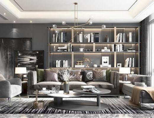 沙发, 椅子, 茶几, 角几, 床尾踏, 吊灯, 台灯, 书柜, 挂画
