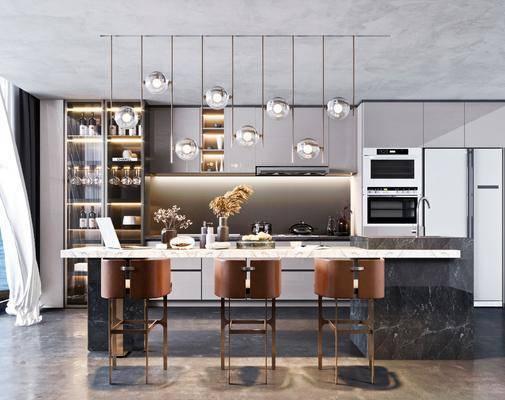 现代餐厅, 现代厨房, 厨房, 餐厅