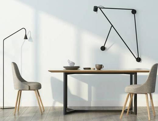 餐桌, 单人椅, 壁灯, 落地灯, 餐椅, 现代