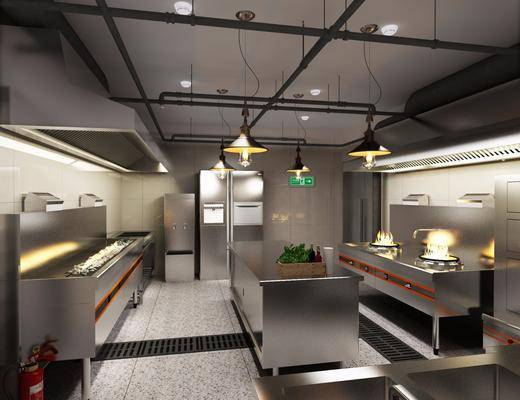 厨房, 后厨, 厨柜, 现代