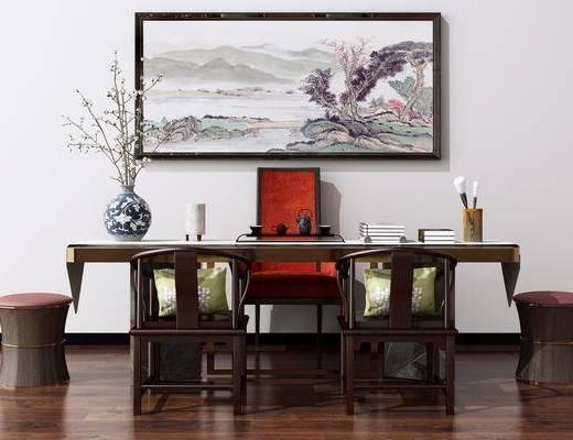 写字桌, 洽谈桌椅, 电脑桌椅组合, 摆件组合, 装饰画
