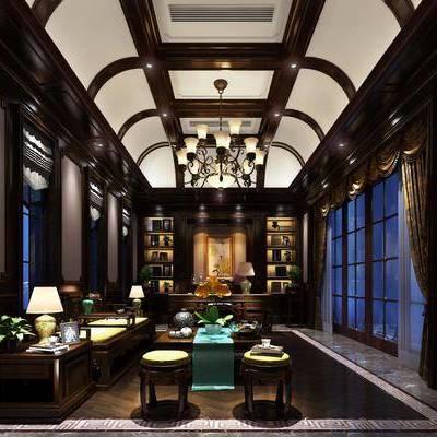 书房, 多人沙发, 茶几, 边几, 台灯, 凳子, 摆件, 装饰品, 陈设品, 吊灯, 书桌, 单人椅, 装饰柜, 欧式