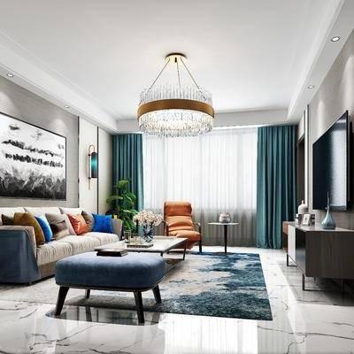 现代客厅, 现代, 客厅, 沙发组合, 吊灯, 壁灯, 电视柜
