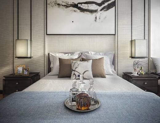床, 中式, 台灯, 床头柜, 装饰画, 枕头
