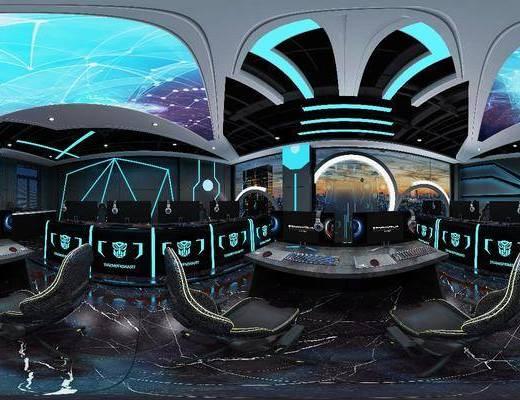 网咖, 竞技馆, 科技感, 单人椅, 现代