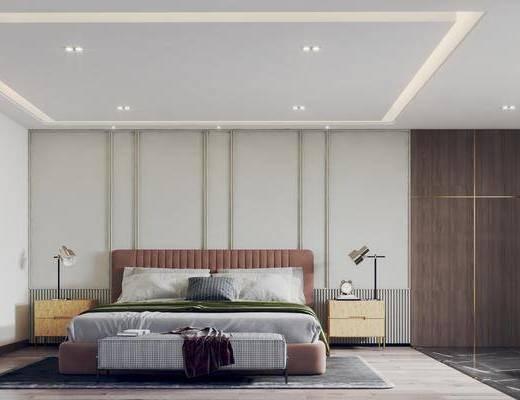 双人床, 床头柜, 台灯, 衣柜, 床尾踏
