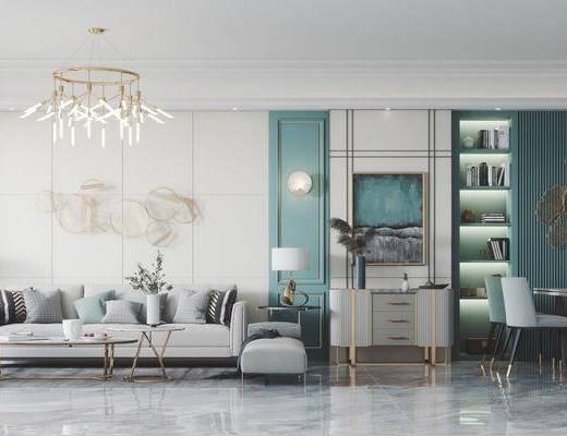 沙发组合, 墙饰, 吊灯, 壁灯, 茶几, 餐桌