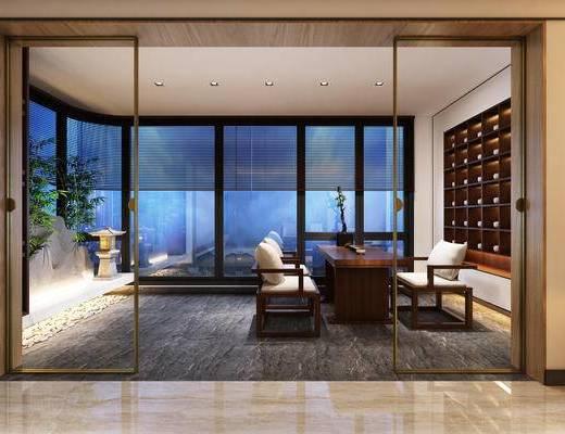 新中式书房, 茶室, 书房
