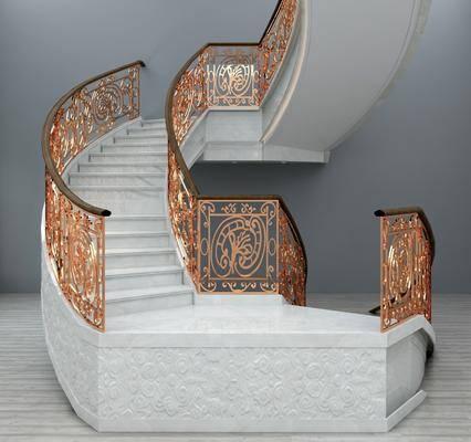 旋转楼梯, 扶手栏杆, 铁艺旋转, 欧式