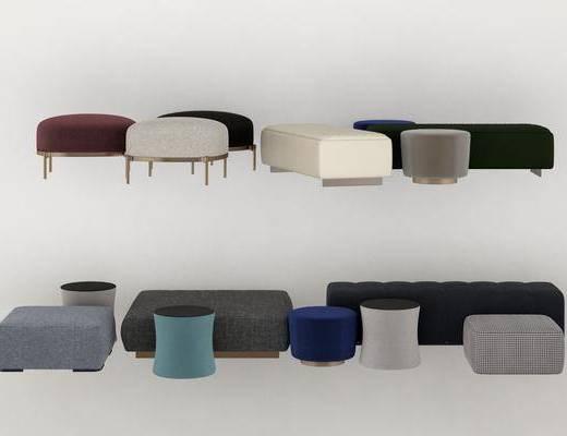 現代沙發腳踏, 圓凳, 沙發凳