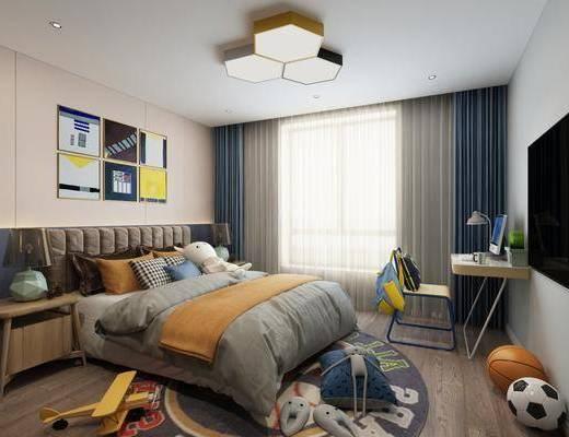 兒童房, 臥室, 雙人床, 床頭柜, 吸頂燈, 書桌, 單人椅, 組合畫, 電腦桌, 現代