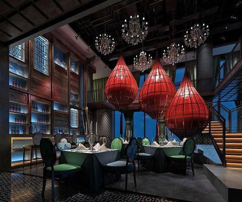 桌椅组合, 吊灯, 酒柜, 楼梯, 餐具组合
