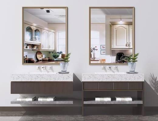 浴室衛浴柜, 洗面盆, 鏡子, 衛浴組合