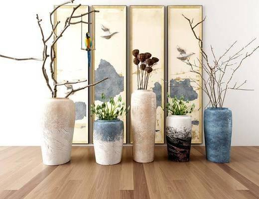 花瓶, 干花, 摆件组合