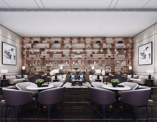 酒店会所, 洽谈区, 单人椅, 桌子, 装饰画, 挂画, 装饰柜, 装饰品, 陈设品, 边几, 台灯, 多人沙发, 茶几, 新中式