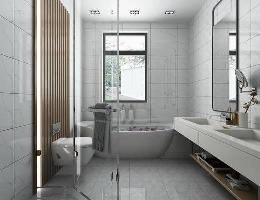 卫生间, 洗手台, 员工, 马桶, 浴室柜, 现代