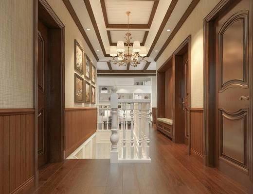 会客厅, 洽谈, 楼梯, 美式, 吊灯, 过道