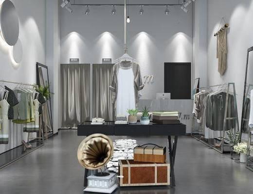 服装店, 模特, 单椅, 边几, 墙饰