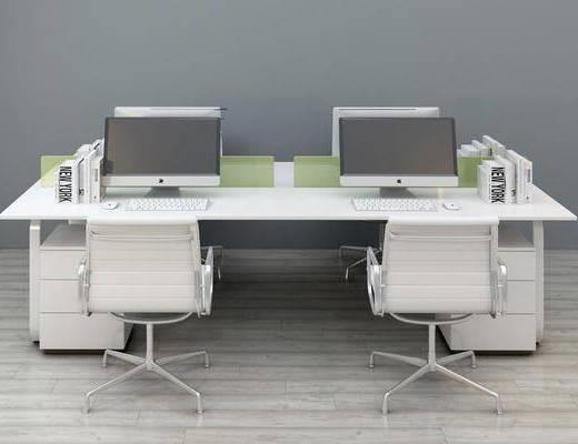 办公桌, 办公椅, 摆件, 现代