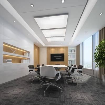 现代, 会议桌, 办公椅, 绿植