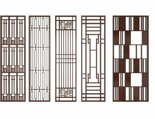 屏风隔断, 隔断花格, 屏风组合, 新中式