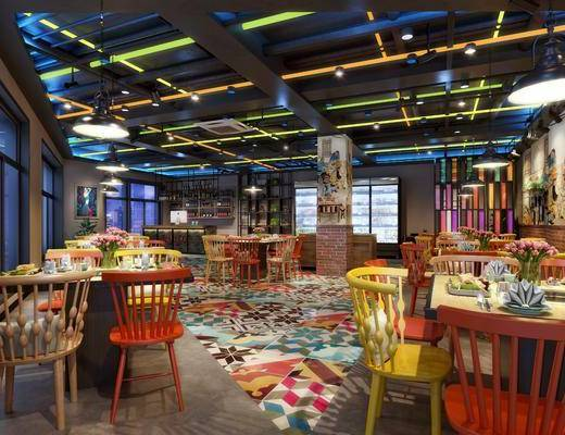 餐厅, 餐桌, 餐椅, 单人椅, 装饰柜, 装饰架, 吊灯, 装饰画, 挂画, 盆栽, 摆件, 装饰品, 陈设品, 工业风