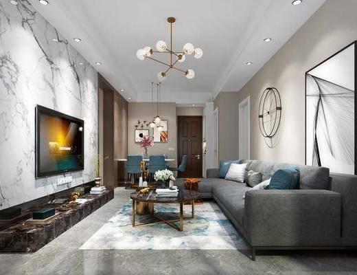 现代客厅, 现代客餐厅, 现代沙发组合