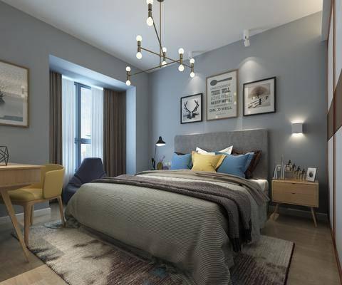 卧室, 双人床, 床头柜, 台灯, 壁灯, 吊灯, 装饰画, 挂画, 组合画, 书桌, 单人椅, 现代
