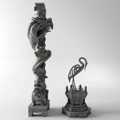 柱子, 雕塑