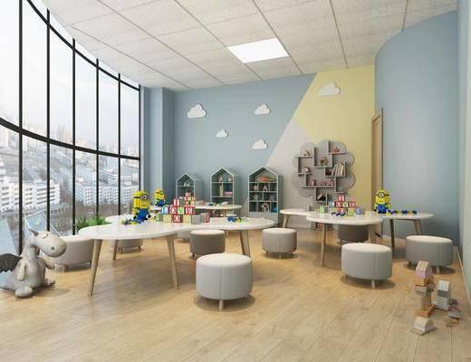 幼儿园, 教室, 桌椅组合, 玩具组合, 装饰柜, 摆件组合, 北欧
