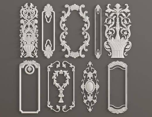 石膏雕刻, 雕花单花, 对角花, 构件, 欧式