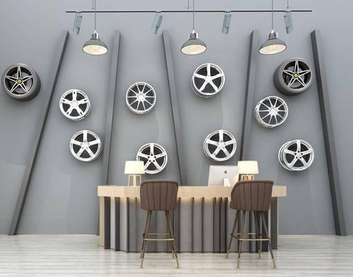 吧台前台, 接待台, 收银台, 背景墙, 挂件组合, 墙饰, 吊灯, 台灯, 电脑, 单人椅, 工业风