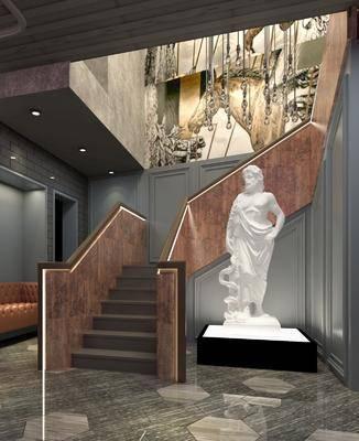 楼梯, 雕塑, 楼梯间, 吊灯