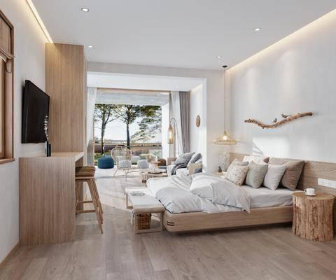 现代, 客房, 家装